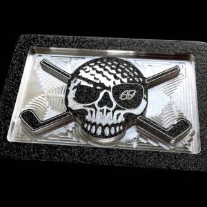 black birdie pirate skull and clubs golf belt buckle