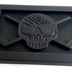murdered out birdie pirate skull and clubs golf belt buckle
