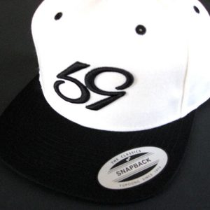 59 phenom snapback white with black bill