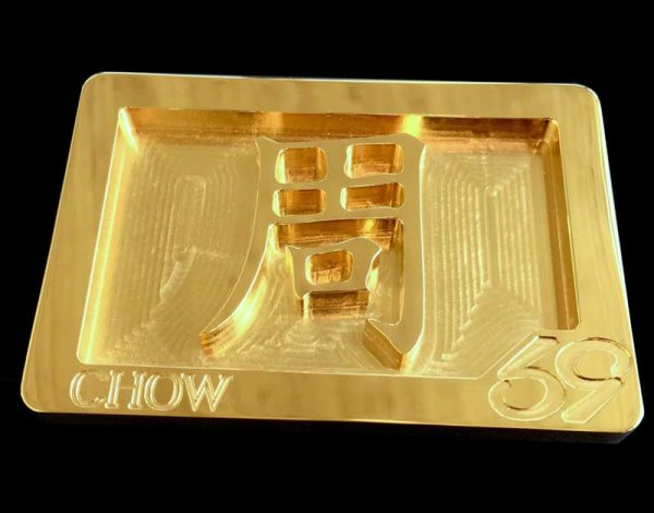 chinese character family crest buckle cnc milled and plated in 24k gold