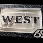 Custom Aluminum Initials Belt Buckle CM4 Black Font Option 1