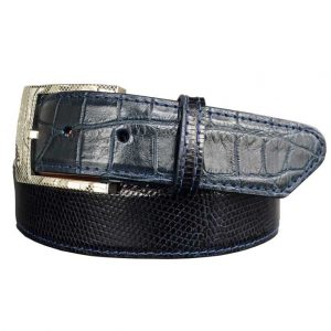 double-cross exotic belt navy alligator on navy lizard