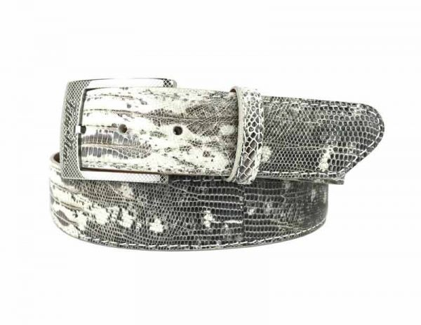 genuine exotic lizard belt strap in a hand-painted black and white finish