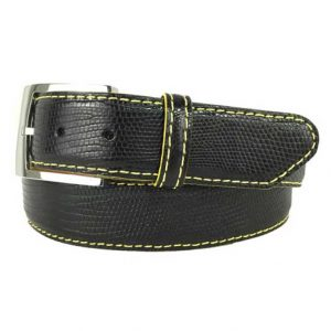 genuine exotic lizard belt strap black with yellow stitch