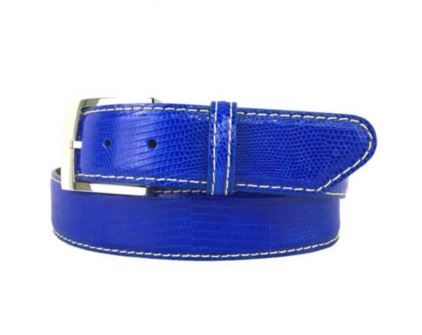 genuine exotic lizard belt strap electric blue with white stitch
