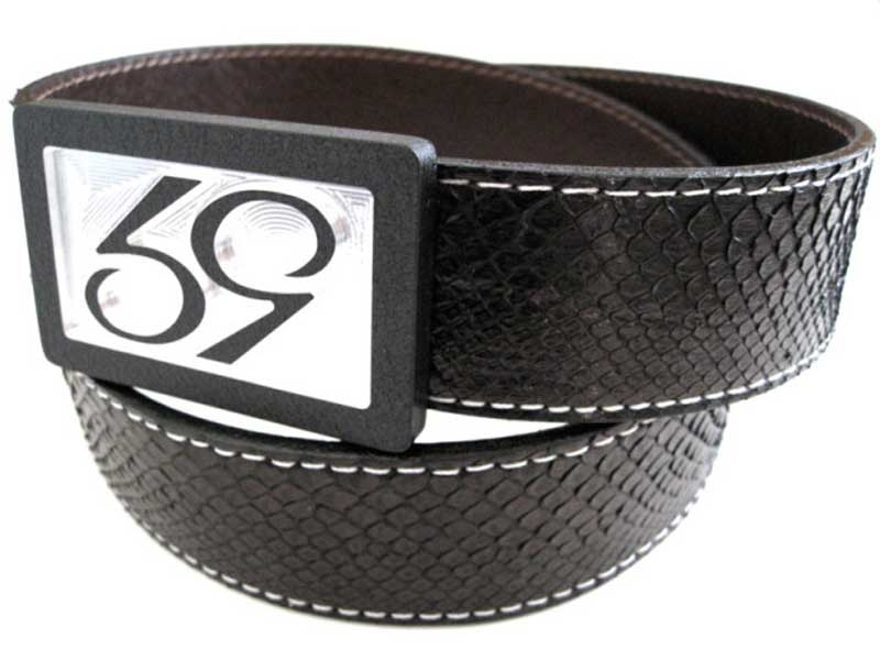 59 style black python belt strap on a 59 belt buckle