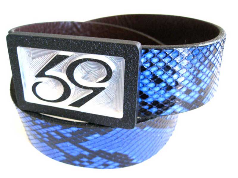 59 style blue python belt strap on a 59 belt buckle