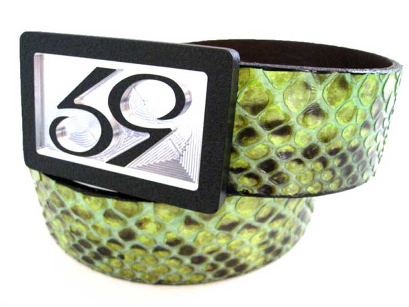 59 style lime python belt strap on a 59 belt buckle