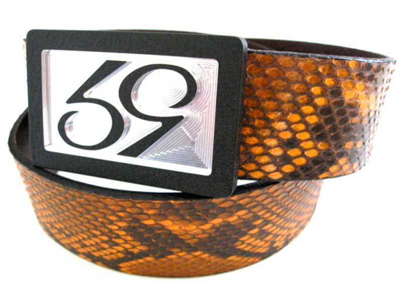 59 style orange python belt strap on a 59 belt buckle