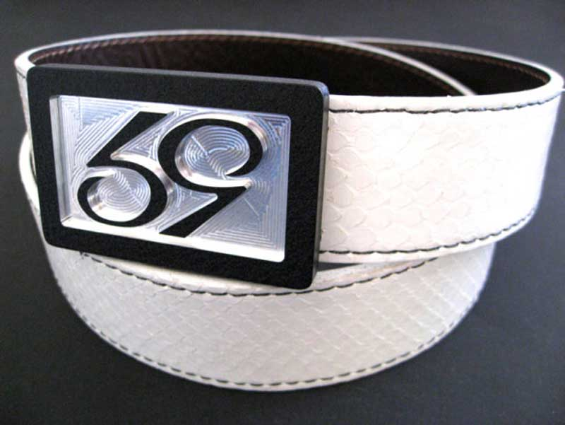 59 style white python belt strap on a 59 belt buckle