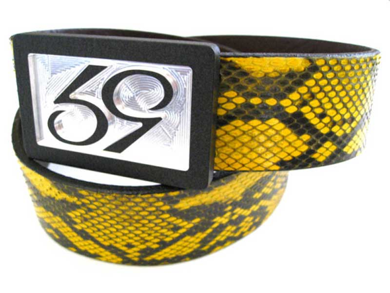 59 style yellow python belt strap on a 59 belt buckle