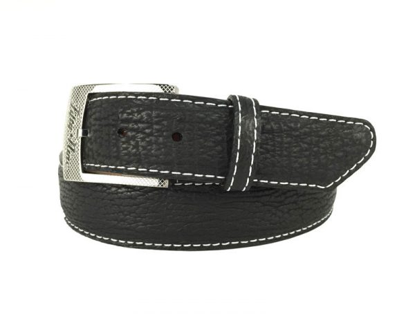 genuine exotic shark belt strap in black with white stitch