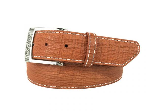 genuine exotic shark belt strap tan with white stitch