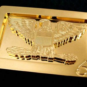 usa themed 24k gold plated belt buckle with a proud american bald eagle design