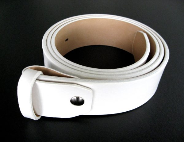 traditional fit white leather belt strap