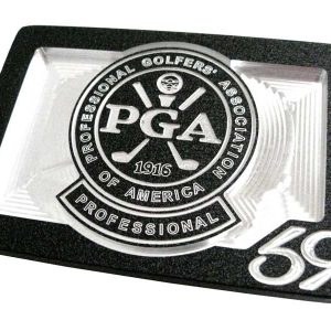 custom pga of america logo belt buckle - black