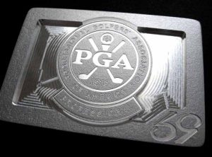 custom pga of america logo belt buckle - brushed silver