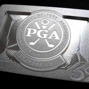custom pga of america logo belt buckle - brushed