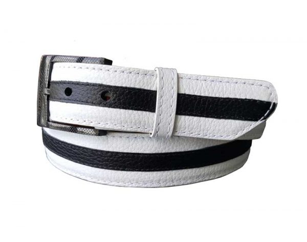 center stripe custom calf leather belt strap
