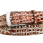 Two Tone Genuine Caiman Crocodile Belt – Cognac