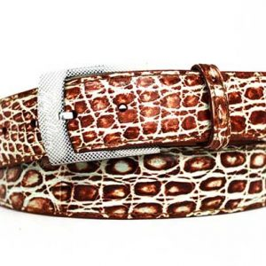 cognac two-tone genuine crocodile belt strap