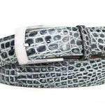 Two Tone Genuine Caiman Crocodile Belt – Grey