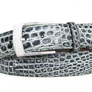 grey two-tone genuine crocodile belt strap