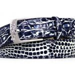 Two Tone Genuine Caiman Crocodile Belt – Navy