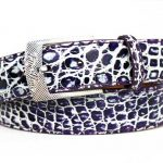 Two Tone Genuine Caiman Crocodile Belt – Purple