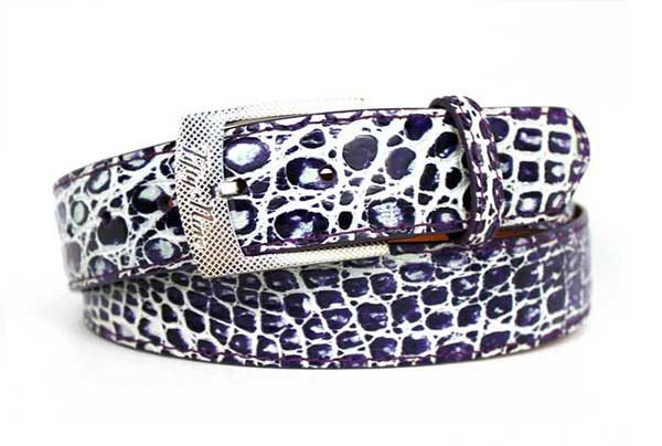 Custom Belt Buckle Specialist -purple two-tone genuine crocodile belt strap