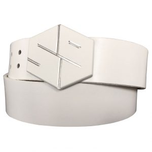 white 59 gyb golf belt buckle