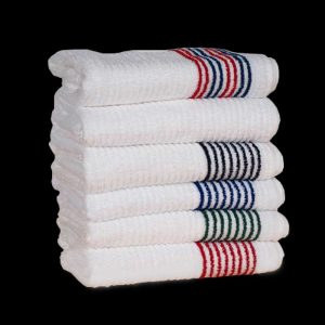 stack of custom team golf towel options