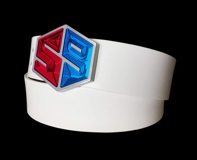 golf your ball use belt buckle in red and blue american colors