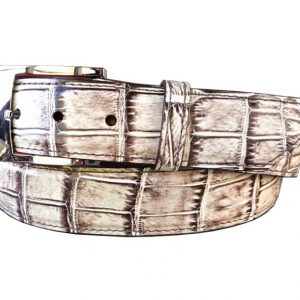 brown and white hand-painted genuine alligator belt
