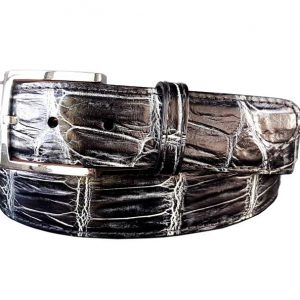 black and white belly hand-painted genuine alligator belt