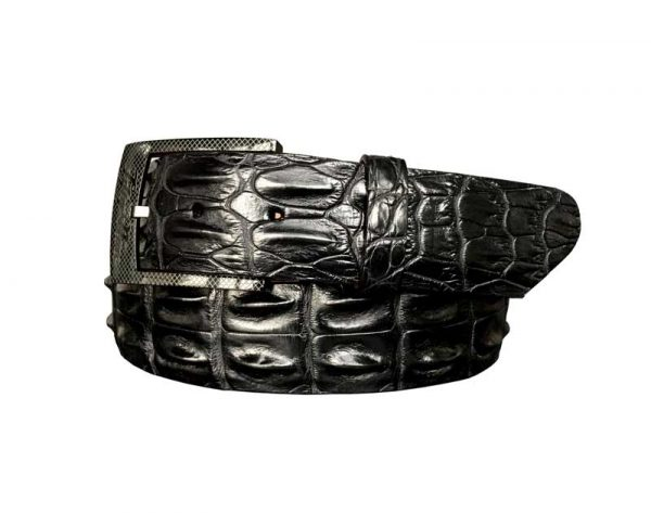 genuine australian horned back crocodile belt strap - black