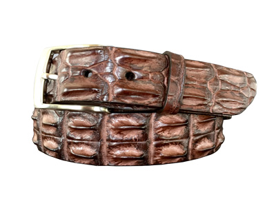 genuine australian horned back crocodile belt strap - brown