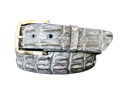 genuine australian horned back crocodile belt strap - grey