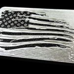 battle worn usa flag belt buckle with tattered stars and stripes