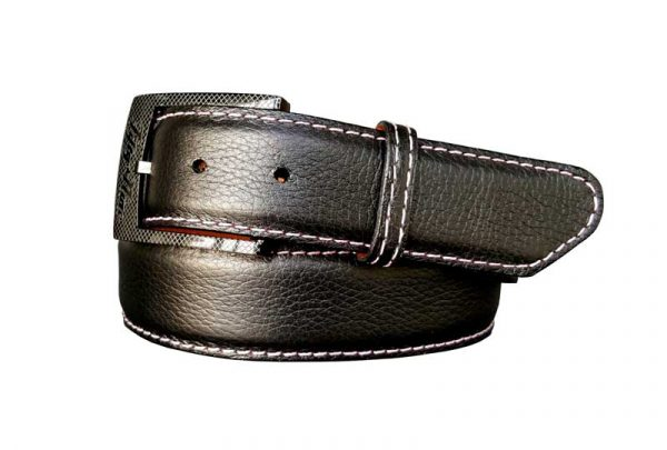 black pebble calf skin belt strap with pink stitch and a black buckle