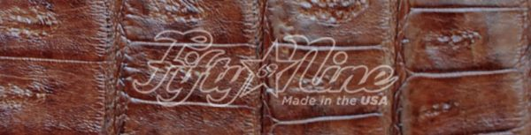 genuine american-made caiman crocodile chestnut color swatch