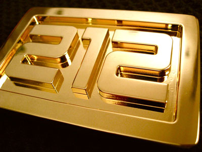 212 area code custom belt buckle cicn milled and plated in 24k gold