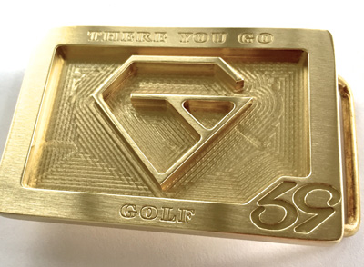 custom cnc milled brass belt buckle with a diamond logo made for golf brand there you go golf