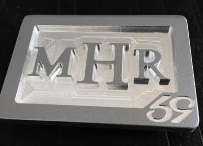 custom personalized mhr 3 initials belt buckle - brushed silver