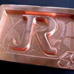 Custom Copper JR Initials Logo Belt Buckle