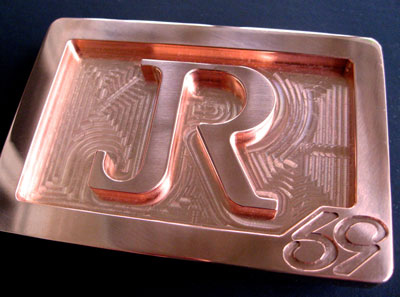 custom jr initials logo belt buckle cnc milled from solid copper