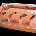 Custom Copper Lucky 777 Gambler Belt Buckle