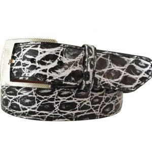 black and white hand-painted genuine alligator belt