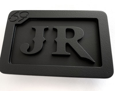 custom personalized jr 2 initials belt buckle - murdered out