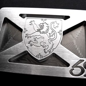 lion rampant shield stainless steel belt buckle - brushed